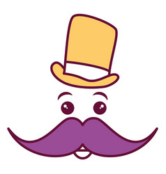 kawaii character with hat and mustache vector image