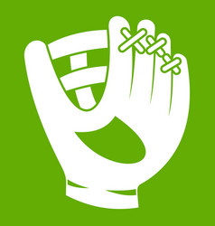 leather baseball glove icon green vector image