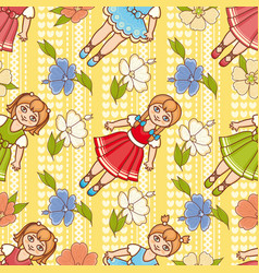 Little ballerina and flower cartoon style vector