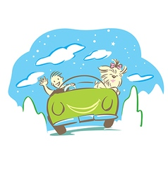 Man and dog travel with car in holiday vector