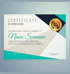 Modern elegant certificate design with geometric vector