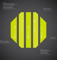Octagon template consists of five green parts on vector