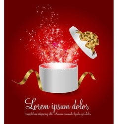 Open gift box with ribbon and magic light vector
