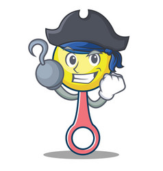Pirate rattle toy character cartoon vector