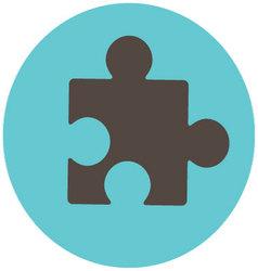 Puzzle icon label vector image