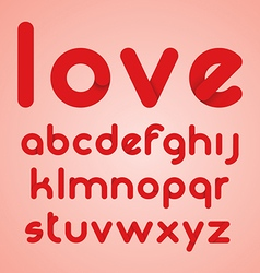 Red round modern letters alphabet vector