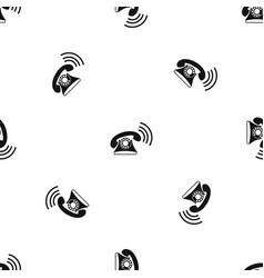 retro phone pattern seamless black vector image vector image