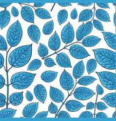 Seamless pattern of birch honeysuckle blue leaves vector