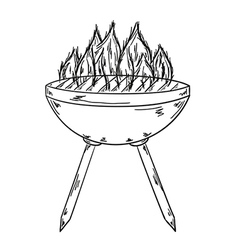 Sketch of the grill with big flames vector