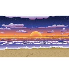 Sunset on tropical beach2 vector image