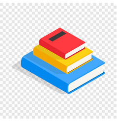 Three books on each other isometric icon vector
