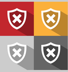 Unprotected shield icon with shade on colored vector