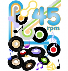 vinyl records background vector image vector image