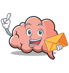 with envelope brain character cartoon mascot vector image vector image