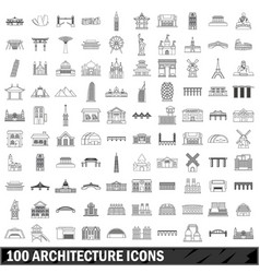 100 architecture icons set outline style vector
