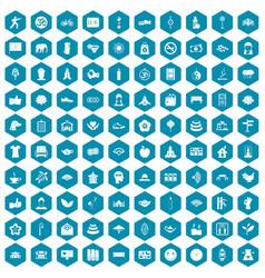 100 yoga studio icons sapphirine violet vector image vector image