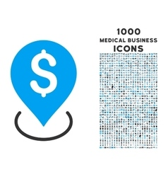 Bank placement icon with 1000 medical business vector