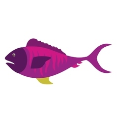 Colorful silhouette with sea fish purple vector