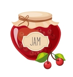 Sweet cherry red jam glass jar filled with berry vector