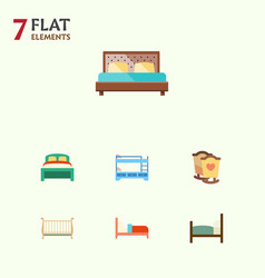 Flat bedroom set of crib hostel bearings and vector
