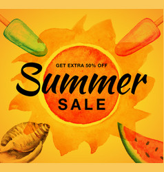 Summer sale banner with watercolor sun ice cream vector