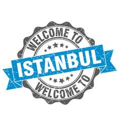 Istanbul round ribbon seal vector