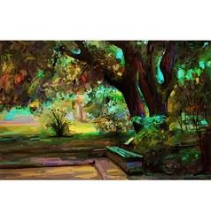 original landscape painting park in spring vector image