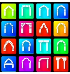 Colored icons collection of arches vector