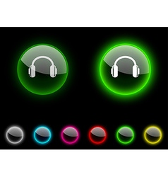 Headphones button vector