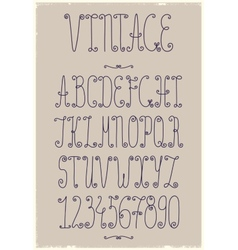 Vintage handwriting font vector