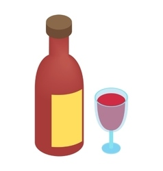 Wine bottle and glass isometric 3d vector