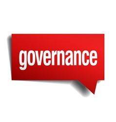 Governance red 3d realistic paper speech bubble vector