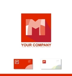 Letter m alphabet square logo icon vector