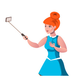 a beautiful girl takes pictures of herself vector image