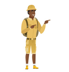 African-american traveler pointing to the side vector