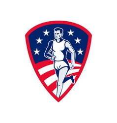 American Marathon athlete sports runner shield vector image vector image