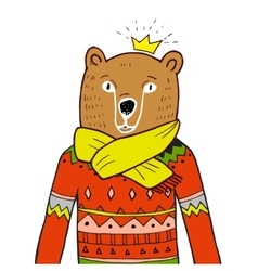 Bear in red sweater vector image