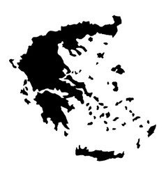 Black silhouette country borders map of greece on vector