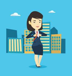 Business woman opening her jacket like superhero vector