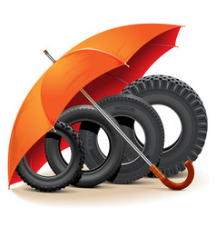 car tires with umbrella vector image vector image
