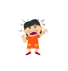 Cartoon character of a angry asian girl vector