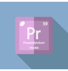 Chemical element praseodymium flat vector