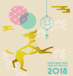 Chinese new year 2018 gold flat dog greeting card vector