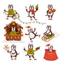 Christmas wolf dog santa cartoon character vector