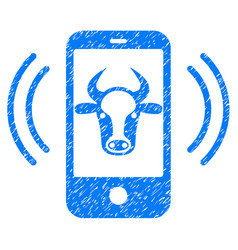 Cow mobile control icon grunge watermark vector