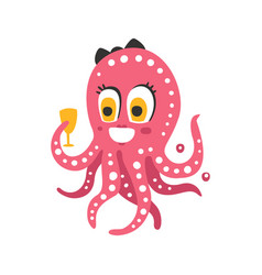 Cute cartoon pink female octopus character holding vector
