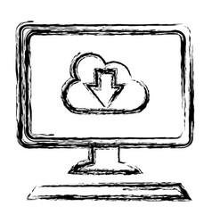 Desktop computer with cloud computing vector