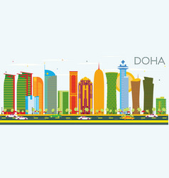 Doha skyline with color buildings and blue sky vector