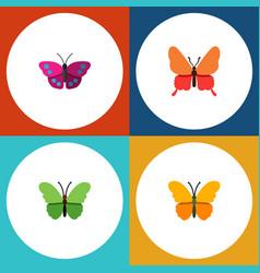 Flat monarch set of butterfly archippus milkweed vector