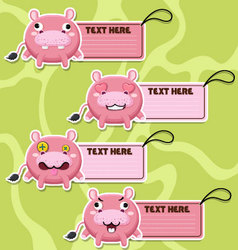 Four cute cartoon Hippos stickers vector image vector image